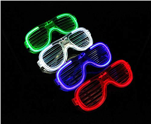 4er Pack Light Up Gläser 2019 Glow in The Dark Party Shades 4 farbige LED Party Brillen Shutter Shades für Erwachsene Kinder LED Neon Sonnenbrillen Neon Party Supplies Rave Night Games Ostern Party