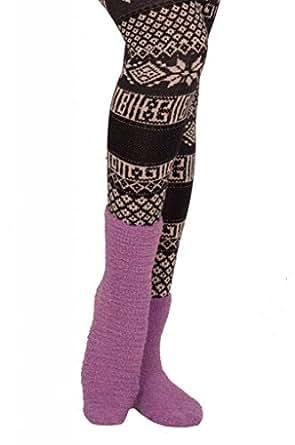 Long Fuzzy Warm Winter Fun Holiday Gift Idea Stretchy Loose Knit Socks