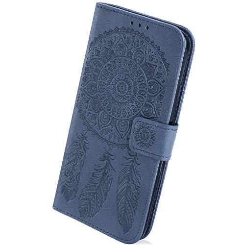 Herbests Kompatibel mit Samsung Galaxy S10 Plus Hülle Handyhülle Traumfänger Mandala Blumen Bookstyle LederHülle Ledertasche Schutzhülle Klappbar Handy Tasche Flip Case Cover Ständer,Dunkelblau