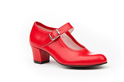 Zapatos Flamenca Para Niña y Mujer, Mod. 302, Calzado Made In Spain (38, Rojo)