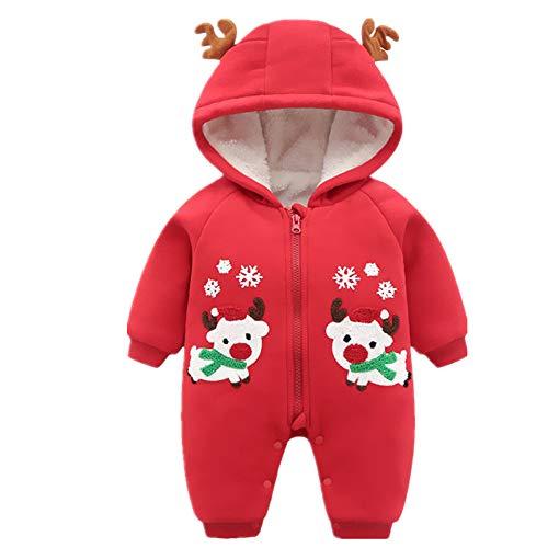 ZAMAC Unisex Baby Strampler mit Kapuze Weihnachten Elch Muster mit Hut Schal Baumwolle Neugeborenen Winter Overall in Einem Schneeanzug Outfits Bodysuit