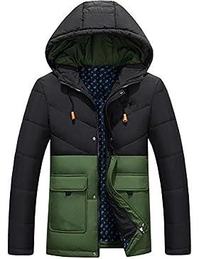 MHGAO Abajo cubren la manera del invierno de los hombres ocasionales largos de la capa , green , l