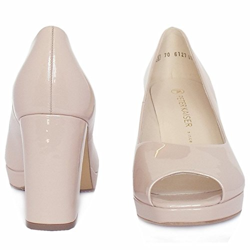 Peter Kaiser Cooky Blocco Tacco Plateau Corte Shoes Nel Brevetto Rosa Perlato Rose