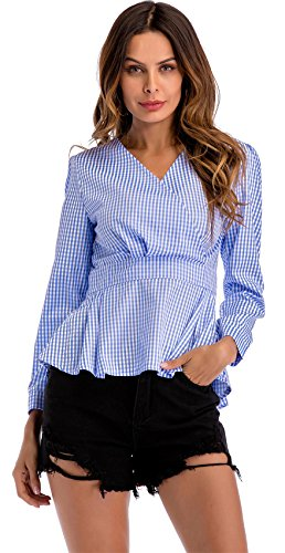 Langarm Rüschensaum Volant Rüschen Saum Tiefer V-Ausschnitt Plaid Tartan Gingham Check Kariert Schößchen Peplum Blouse Bluse Shirt Hemd Oberteil Top Blau 2XL - Ruffled Front Bluse
