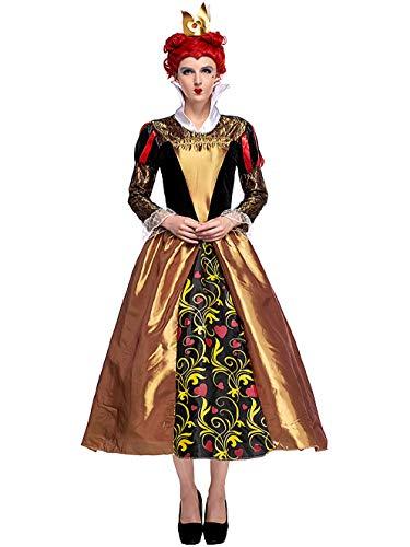 Krone Königin Kostüm - FStory&Winyee Damen Kostüm für Karneval Alice im Wunderland Fasching Kostüme Erwachsene Rot Böse Herzkönigin Märchen Cosplay Verkleidung Set mit Königin Krone Damen Kleid Feiern Rollenspiel Party