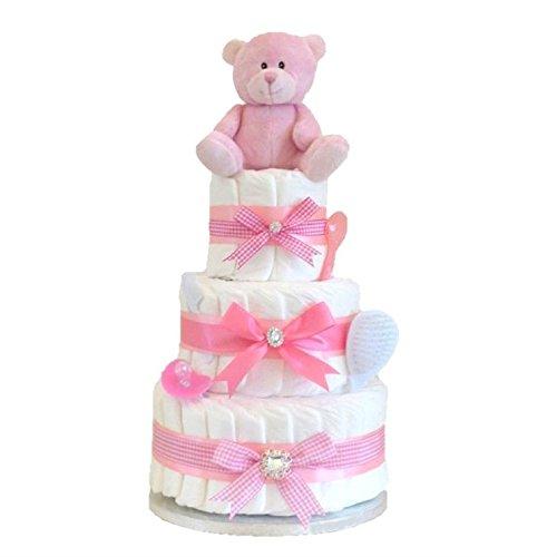 Signature Grande Deluxe à 3étages pour bébé fille cadeau/rose couche gâteau/panier de bébé cadeau de réception-cadeau pour bébé/cadeau nouveau-né/envoi rapide