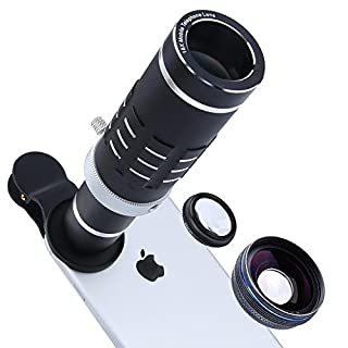 Cell Phone Lens Kit with Universal Clip for iPhone, Samsung, HTC and Most Smartphone (18Blacks)