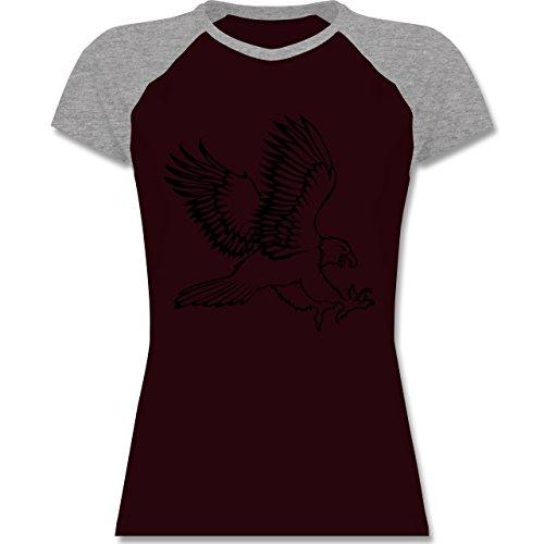 Vögel - Adler - zweifarbiges Baseballshirt / Raglan T-Shirt für Damen Burgundrot/Grau meliert