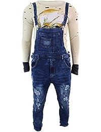 Salopette cintrée homme jeans déchirés bleu indigo délavé style vintage rétro