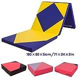 CCLIFE 180x60x5cm Weichbodenmatte Turnmatte Tragbar Klappbar Gymnastikmatte Yogamatte Fitnessmatte Farbauswahl, Farbe:Blau & Gelb