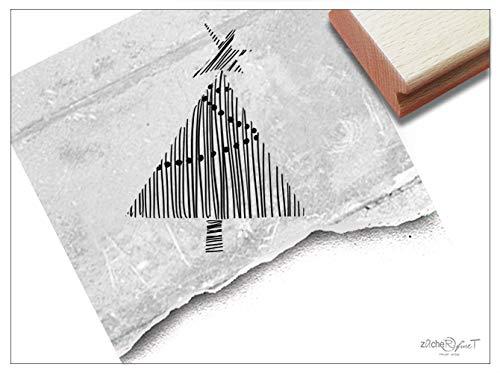 Stempel Weihnachtsstempel Weihnachtsbaum in Linework - Motivstempel zu Weihnachten Karten Geschenkanhänger Geschenk Weihnachtsdeko - zAcheR-fineT (groß ca. 45 x 57 mm)