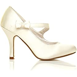 CHARLOTTE Elfenbein Satin High Heels Braut Schleife Mary Jane Schuhe - 6 UK / 39 EU