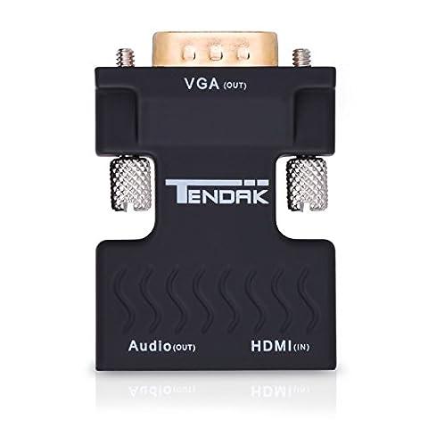 Tendak Adaptateur HDMI vers VGA, Active 1080P HDMI Femelle à VGA Mâle Convertisseur Dongle Avec 3.5mm Connecteur HDMI Stéréo Audio Portable pour PC Portable Projecteur HDTV PS3 Xbox STB Blu-ray DVD TV Stick