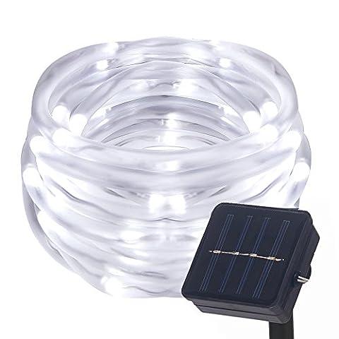Lamker 12M 100 LED Solarlichterkette mit Lichtsensor Wasserdicht Außenlichterkette Für Hochzeit Party Garten Weihnachten Weihnachtsbeleuchtung Deko Solar Lichterkette Schlauchlicht Lichtschlauch IP55 Weiß