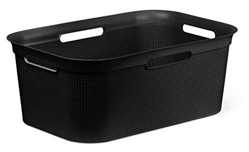 Rotho Brisen Wäschekorb 40 l, Kunststoff (PP), schwarz 40 Liter (60 x 40 x 23,2 cm)