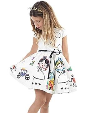 Amlaiworld Vestito per bambini,Cute Cartoon bianco vestito+ cintura per ragazza Principessa Abito