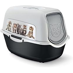 Rotho Arenero para gatos tapa y puerta, fácil de limpiar, para gatos domésticos, con filtro antiolores de carbón activo, de plástico y polipropileno, tamaño (largo x ancho x alto) 55,5x 40x 38,7cm