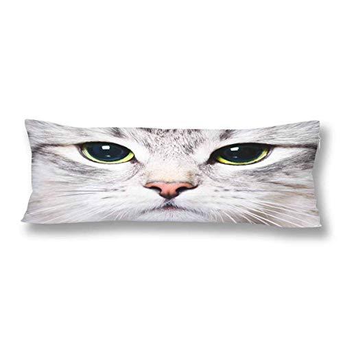 CiCiDi Seitenschläferkissen 5ft (140 x 40 cm) Weiße Katze Kätzchen Große Grüne Augen Lustige Tier Weiche Baumwolle Maschinenwäsche mit Reißverschlüssen Mutterschafts- / Lange Kissenbezug -