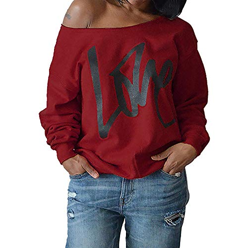 TOPKEAL Brief Lange Ärmel Hoodie Pullover Damen Herbst Winter Kapuzenpullover Trägerloses Sweatshirt Winterpullover Jacke Mantel Mode Tops ... -