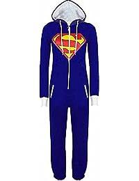 URAQT Unisexe Pyjamas Combinaison Zippée à Capuche Adulte Batman Superman Costume