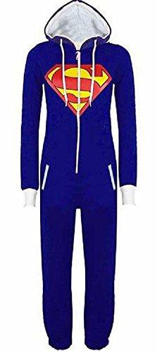 URAQT Unisex Onesie Overalls Batman / Superman, Jumpsuit / Sleepsuit mit Kapuze Pyjamas Kostüm Cosplay, Herren / Damen (S, (Superman Kostüm M&s)