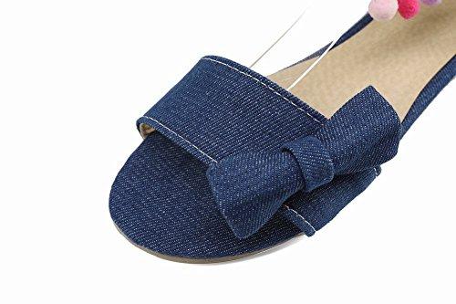 Mee Cinta Azul Escuro Denim Circuito Sandálias Tornozelo Calçados Com Plana Femininos OwIqazOr