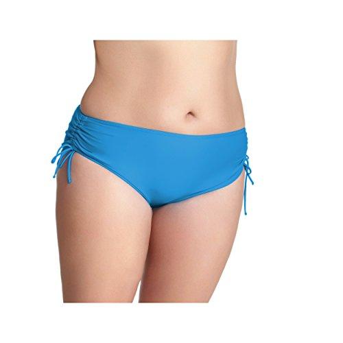 Damen Bikinihose mit Raffungen Bikinislip Panty Bikini Hose Badeslip Unifarben Schwarz Blau Pink Rot Blau