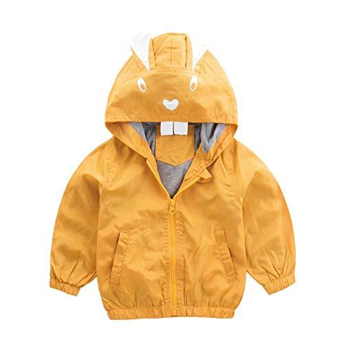 Yazidan Jacke Hase Baby Oberbekleidung Mantel Jungen Mädchen Kinder Kapuze Kleidung Niedlich Herbst Winter Warm DickerLeicht Sweatshirt Pure Farbe Postleitzahl Mantel Outwear Parka(Gelb,100)