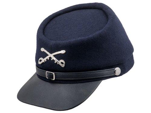 Sterkowski Echt Leder und Wolle Bürgerkriegs Sezessionskrieg Kepi Mütze 63 cm Dunkelblau