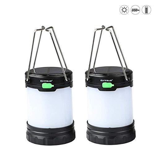 EXTSUD 2er Solar Camping Laterne Tragbare LED Aufladbar Campinglampe Outdoor Gartenlaterne Notleuchten IPX4 Wasserdicht USB Lampe eingebaute 1000mAH Batterie