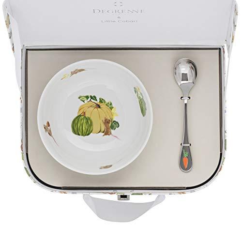 DEGRENNE 231757 Les Amis du Potager Valisette avec coupelle + cuillère à café, Multicolor