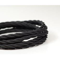 Cable textil, diseño vintage trenzado de 3 hilos, color negro