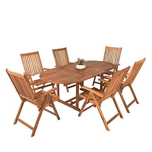 Outdoor-ess-stuhl-set (ESTEXO Akazienholz Gartenmöbel Set mit Gartentisch ausziehbar und 6 Klapp Stühlen)