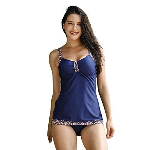 KAYI Donna 2 pezzi Bikini Tankini Costumi da bagno Fondo fionda solido stampato Plus Size blu violaceo