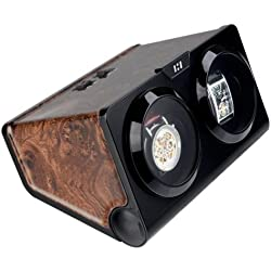 CKB Ltd® BURL HORIZONTAL Automatic Double Watch Winder CKB002BURL with Clockwise or Anticlockwise Switch - 1 Timer Mode Premium Silent Motor Movement - Wooden Effect Burl and Black Finish