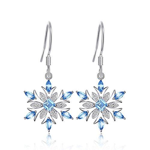 JewelryPalace Fiocco di Neve 1.4ct Naturale Azzurro Topazio Ciondolo gli Orecchini Argento Sterling 925