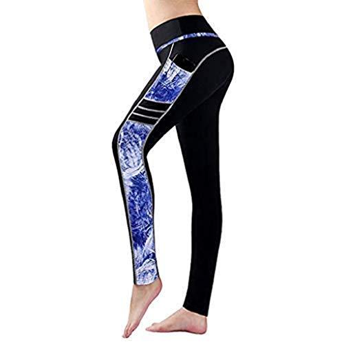 ar Damen Leggings Laufhose Gym Yoga Hosen Fitness Elastische Leggings Sporthosen (M, Schwarz B) ()