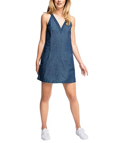 edc by ESPRIT Damen Kleid 056CC1E030-Jeanskleid, Blau (Blue Dark Wash 901), 36