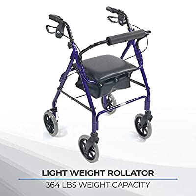 Days Lightweight Aluminum Rollator, Mobile Walker and Rest Seat for Elderly, Disabled, and Limited Mobility Patients, Walking Stabilizer for Post Surgery and Injury Individuals, Four Wheel Aid