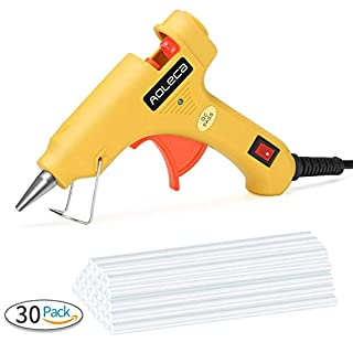 Aoleca 20W Mini Hot Melt Glue Gun with 30pcs Glue Sticks, 3-5 Minutes Heats Up Ultra Clear Electric High Temperature Melt Craft Glue for DIY Small Craft Projects and Quick Repairs