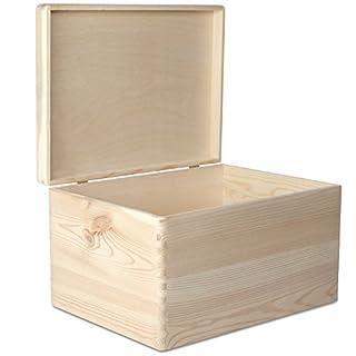 Creative Deco XXL Grande Coffre Boîte de Rangement Bois | 40 x 30 x 24 cm | Non Peinte Caisse Malle pour Décorer avec Couvercle | sans Poignées | Parfait pour Jouets, Outils, Documents et Objets