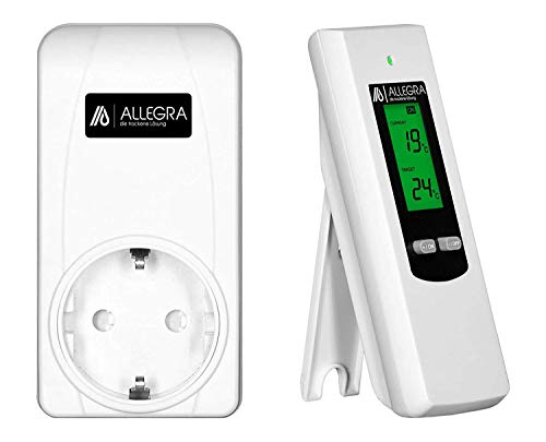 ALLEGRA Thermostat Steckdose mit DE Bedienungsanleitung Funkthermostat für Infrarotheizung Heizlüfter Heizung Klimaanlage Funk Steckdosenthermostat Digitaler Temperaturregler Steckerthermostat (T21)