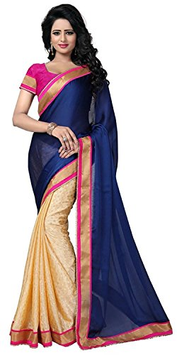 Rekha Fashion Hub Georgette Saree With Blouse Piece (Tamanna Blue_Blue_Free Size)  available at amazon for Rs.599