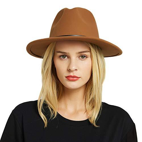 erren Damen Baumwolle Breiter Krempe Filzhut Panama Hut mit Gürtelschnalle ()