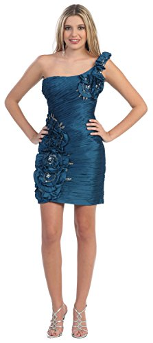 One-Shoulder Cocktail-Kleid Sexy kniefrei Minikleid Partykleid Abiballkleid Kurz Brautjungfernkleid...