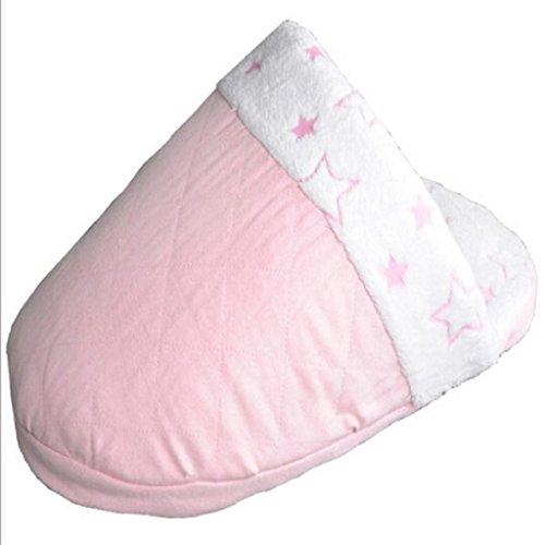 Loveso-Haustier Hunde Hundekisten Haustier-Hundewelpen und Katzen Klapp-Indoor-Flanell Nest Hoch Plüsch Slipper Schuh geformt Bett (Pink)