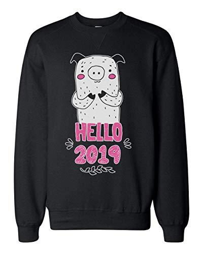 Finest Prints Hello 2019 New Pig Year Design Unisex Sweatshirt Small