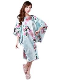 JTC Femmes Paon Elégante Kimono Peignoir Pyjama Robe de Nuit/de Bain/de Chambre-en Soie-5 Couleurs