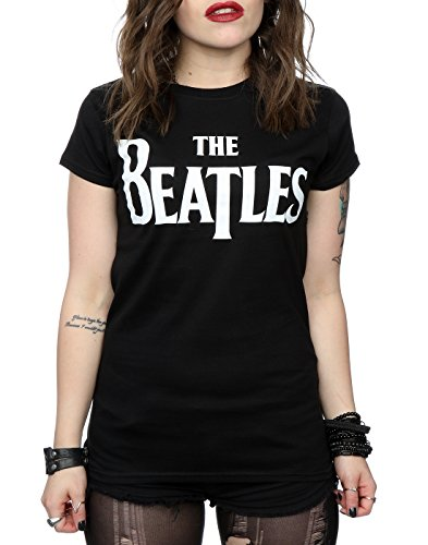 The Beatles Femme Drop T Logo T-Shirt Noir