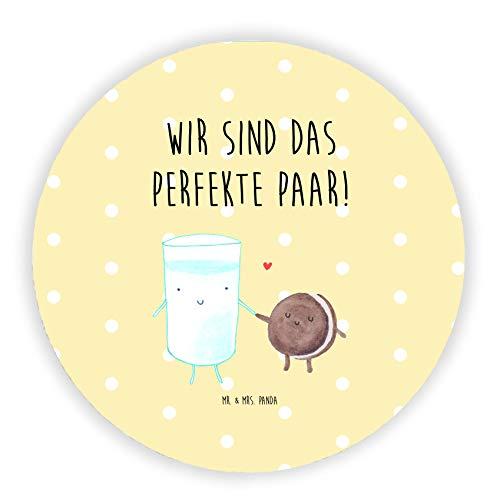 Mr. & Mrs. Panda Büromagnet, Kühlschrank Magnet, Rund Magnet Milch & Keks mit Spruch - Farbe Gelb Pastell